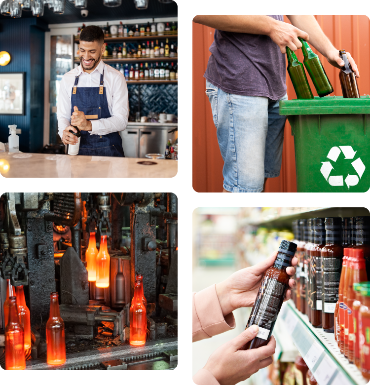 Glass Recycling Lifecycle: from consumer to recycling, to manufacturing and back to a store shelf.